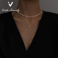 Collares con cuentas pequeñas gargantillas de perlas de 14k collar chapado en oro de la manera de la joyería de la perla de la fiesta para el regalo de aniversario de la fiesta