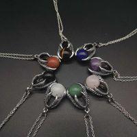 Natural Gem Stone Beads Dragon Claw colares bola pingente de Lapis Lazuli de cristal de quartzo Mulheres Homens Yoga gótico Jóias