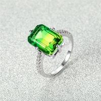 Alyans Sarı Yeşil Kristal Kare Zirkon Kadınlar Için Vintage Moda Gümüş Renk Nişan Yüzüğü Kadın Lüks Takı