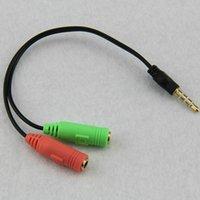 200pcs / lot 2 a 1 cabeza de conversión Línea Adaptador de cable de audio en la caja de la computadora mp3 jugador del juego de dos auriculares de teléfono móvil