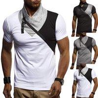 Casual Men Дизайнер Tshirts Puls Размер Мужские футболки Turtle Neck Лоскутная Короткие рукавом одежды