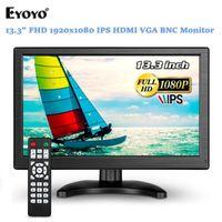 "Eyoyo 13.3 ""IPS Monitor 1920x1080 FHD 1000: 1 VGA LCD Tela AV BNC USB Display para PC Laptop Home Security Câmera CCTV"