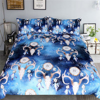 3 PCS Bedding Set Elk and Moon Duvet Cover With Pillowcase Deer Printed Bed Set Moonlight Bedclothes
