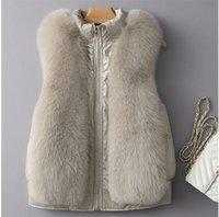New Winter Women Faux Fox Fur Coat Luxury Fake Fur Coat Loose Zipper Overcoat Thick Warm Female Plush Sleeveless Vest