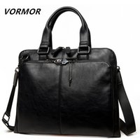 VORMOR Brand Men bag Casual mens briefcase 14 inch laptop Handbag shoulder bag PU leather mens office bags 2019