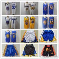 Mens Golden.EstadoGuerreirosJersey Klay 11 Thompson Stephen 30 Curry Basquete Shorts Basquetebol camisas azuis preto