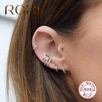 Andere Roxi Simple 925 Sterling Silber personalisierte zweireihige glatte Oberfläche Ohr Manschettenclip Kein Piercing auf Ohrringe für Frauen