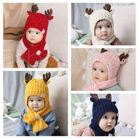 Noël bébé Bonnet tricoté enfant corne de cerf Hat Ajouter écharpe de laine Kids Outdoor bonbons couleur hiver chaud Chapeau Foulard Fête de Noël Chapeaux RRA3571