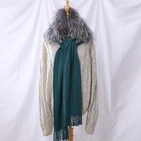 Szaliki 2021 Marka damska moda jesień zima wełna patchwork futro dzianiny szalik okłady szalik luksusowy przylądek