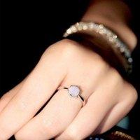 ANNISSONS DE CLUSTER BLUE MINIMALISTE BLUE ROND OPAL PIERRE NATURELLE POUR FEMMES Mode Doigt Bande Bijoux Accessios Mujer Anel De Namoro Cadeau d'amour