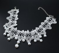 Collier gros mariée mode coréenne bijoux perles pendaison de dentelle blanche collier de poire fabriqués à la main