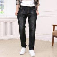 Мужские джинсы 2021 осенью кошка усы, поцарапанные белые мужчины моды регулярные подходящие стремянки джинсовые брюки синие черные брюки