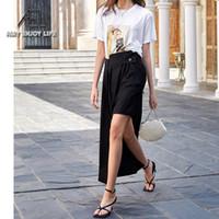 Etekler Ael Asimetri Siyah Pist Etek Kadın 2021 Yaz Sokak Giyim
