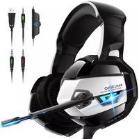 Cuffie cablate di Onikuma K5 Super Bass Stereo per PS4 Rumore Cancellazione MIC Auricolare da gioco a LED con orecchio