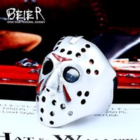 Beier New Punk Men Ring 316L Stainless Steel Biker Jason Voorhees Hockey Mask with red colour Antique Men Jewelry LLBR8-461R