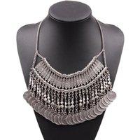 Collier d'arrivée de luxe Bijoux de luxe Collier pendentif Chunky pour les monnaies de métal Femme en alliage de forme Femmes de mode
