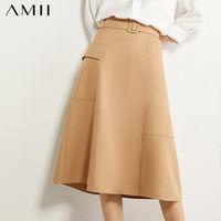 Etekler Amii Minimalizm Sonbahar Moda Aline Kadınlar Etek Katı Yüksek Bel Cep Gevşek Kadın 12030307