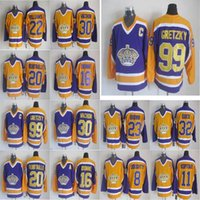Los Angeles Kings Vintage Version Jersey 16 Marcel Dionne 20 Luc Robitaille 99 Wayne Gretzky 11 Anze Kopitar 23 Dustin Brown Hockey Jerseys