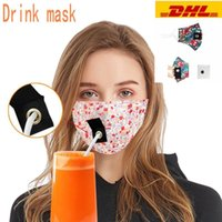 US STOCK Party Drink Masks Adult Outdoor Anti Pollution Fog Cotton Mouth Straw Mask Reusable Washable Protective Face Cover FY6091