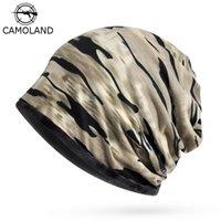 Goejos Camoland Outono Inverno Crânios Homens Mulheres Quente Baggy Camuflagem Hat Hip-Hop Snap Slouch Bonnet Bone