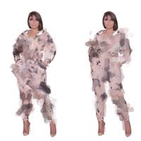 56ys3125 Дамы Двухсевная мода Печать с длинным рукавом брюки стенд воротник костюм прямо набор с застежкой на молнии