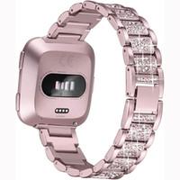 Bling Алмазной часы ремешок для Fitbit Versa 2 из нержавеющей стали ремешка женщин наручного браслета для Fitbit облегченного / стих 2 Группы аксессуары