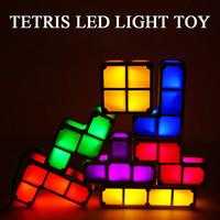 7pcs / Set Tetris Gece Işığı DIY Renkli İstiflenebilir Tangram Bulmacalar LED İndüksiyon Birbirine Lambası 3D Oyuncak Hediye