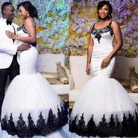 2020 새로운 블랙 레이스 Appliqued 인어 웨딩 드레스 아프리카 검은 색과 흰색 새틴 얇은 명주 그물 신부 가운 Vestidos 드 노비 멋진의 간단한 158-2