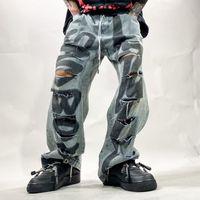 Erkek kot delik kaya grafiti mektup hip hop mavi harem pantolon erkekler vintage denim rahat cepler pantolon retro erkek gevşek streetwear