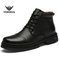 Botas vosonca homens vintage estilo vintage sapatos casuais moda alto corte de pelúcia keep