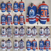 Edmonton Oilers CCM Vintage Jerseys 99 Wayne Gretzky Mark Morsichr 89 Sam Gagner Paul Coffeey 17 Jari Kurri 30 Bill Ranford Hockey Jersey