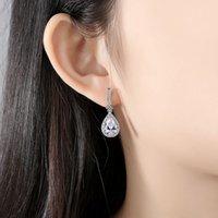 SLBRIDAL Copper Alloy Tear Drop Cubic Zircon Stud Earring CZ Earring Wedding Bridal Fashion Jewelry Girls Women