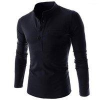 2020 Polos de lujo de la primavera otoño de manga larga de color sólido camiseta del collar del soporte de Calle Ropa para hombre masculino