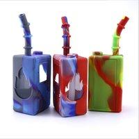 DHL Games Spieler-Kasten quadratische Form Pfeifentabak Silikon Wasserpfeife mit Glasschüsseln Rig für die Wasserpfeife Bongs Downstem Werkzeug