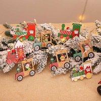 4pcs / set del treno di Natale fai da te in legno Pendenti Xmas Tree ornamenti d'attaccatura di legno artigianato del partito scherza il regalo decorazione domestica Accessori