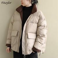 Fitaylor 2020 Новая зима Женщины Stand Collar Ultra Light вниз пальто 90% белая утка вниз куртка на молнии рыхлый снег Outwear