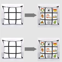 Sublimation Blank Taie bricolage Sublimation 9-Grid 45cm * 45cm Pillowcases transfert de chaleur d'impression pillowslip blanc Sans PP Coton