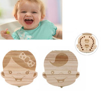 Wood Baby Tooth Box Organizer English Spanish German French ...