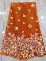 Orange Parti velours Tissu velours dentelle africaine tissu avec Paillettes PVZ56 (5Yards / Lot)
