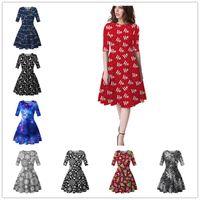 Kadınlar Diz Boyu Elbise Noel Ağaçları Snowflower Baskılı Tunik Elbise Yarım Kol Zayıflama Etek Noel Parti Elbise Moda Giyim D9304