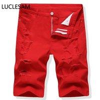 Jeans da uomo Mens Strappato fori Breve maschile Elasticità rossa in vitello Denim Pantaloni Denim Moda Streetwear Punk Rock Shorts Casual Biker Jean