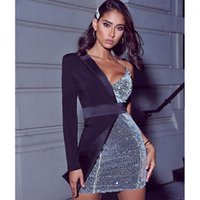 Sexy One manches Skinny sexy Nightclub femmes Party Casual Robe Patchwork Paillettes Femmes Costume Robes d'été