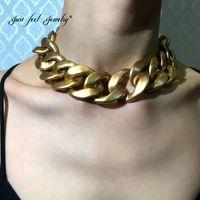 Sadece Kendinizi Benzersiz Hissetmek Büyük Tıknaz Zincir Gerdanlık Kolye Collares Aksesuarları Abartılı Altın Kalın Bildirimi Kolye Vintage Takı