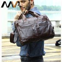 MVA Mens Bag Genuine Leather Zip Mens Shoulder Bags for Man Messenger Bag Men Leather Handbags Totes Laptop 14 Briefcases 9005