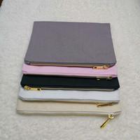Multi-colores Llanura de lona de algodón bolsa de almacenamiento en blanco bolsa de Organización de la casa con el oro de la cremallera para la pantalla de impresión de bricolaje