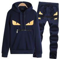 Moda para hombre Little Monster Prints Diseñador de chándales Hombres S con capucha Suéter de manga larga Pantalones Casual Dos piezas Set S-5XL T127