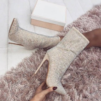 Hot Sale- Women Party Sexy Pointed Toe Glitter Crystal Boots...