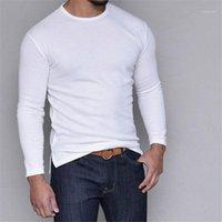 Designer-T-Shirt beiläufigen Solid Color Langarm-T-Shirt mit Rundhalsausschnitt Split Grund Artmens Kleidung Hot Artmens
