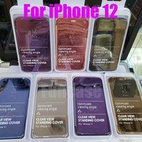 Offiziell Metallic Plating clevere Spiegel-Fenster-Ansicht Ständer Ständer-Schlag-Abdeckungs-Fall für iPhone 12 Mini 11 Pro Max XS XR X 8 7 6 6S Plus-SE