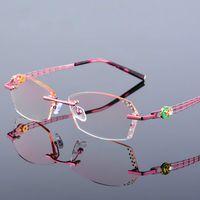 Высокой Clear антибликового Rhinestone чтение очков Женщина розовые очки Алмазные Rimless дальнозоркость Eyewear Новой